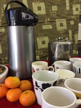 Flask and mugs